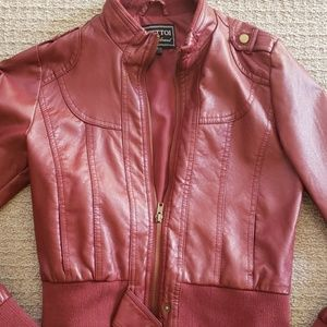 Red vegan leather jacket
